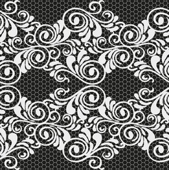 White and black vector seamless lace with a floral ornament, template
