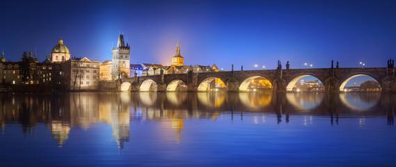 Acrylic Prints Prague View on Charles Bridge in Prague at night