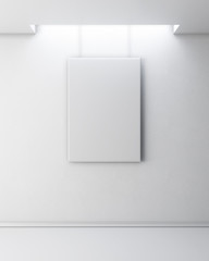 Empty picture on white wall. Gallery Interior with empty frame o