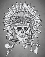Hand drawn Indian headdress with human skul,l tomahawk and calum