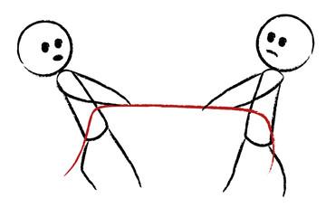 Zwei Personen (Gegner) ziehen am Seil