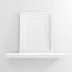 white blank photo frame on white shelf on white background