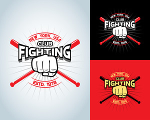 Fighting t shirt design, logotype, boxing monochrome vector label , badge , logo for hipster flyer, poster or t-shirt print with fist, baseball-bat and text.
