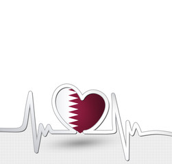 Qatar flag heart and heartbeat line