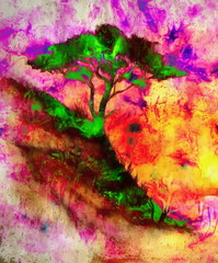 Painting sunset, sea and tree, wallpaper landscape, color collage. and abstract grunge background with spots. Pink, yellow, red blue, white and green color.