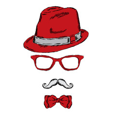 Set of men's accessories . Hipster set . Hat glasses and tie. Mustache. Poster . Print .