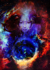 Goodnes woman and lion in space with galaxi and stars. profile portrait, eye contact.