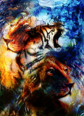 portrait lion and Tiger face, profile portrait, on colorful abstract  background. Abstract color collage with spots.