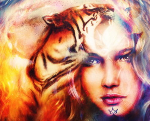 painting mighty tiger head on ornamental background and mystic woman face, computer collage.