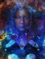 Goodnes woman and lion and butterfly in space with galaxi and stars. profile portrait, eye contact.