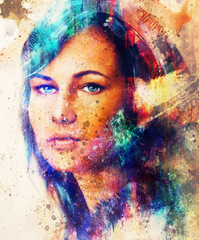 Young woman portrait, color painting on abstract background, computer collage. Eye contact. Blue, black, yellow, white and red color.