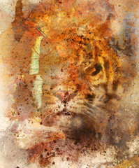 gentle portrait tiger with eagle and butterfly wings.. Color Abstract background and retro, old paper structure. Animal concept.
