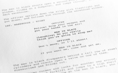 Screenplay close-up 1 (generic film text written by photographer)