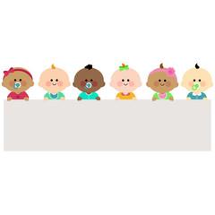 Babies holding horizontal blank banner