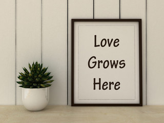 Motivation words Love Grows here. Family, Happiness, Home, Love concept. Inspirational quote.Home decor wall art. Scandinavian style home interior decoration