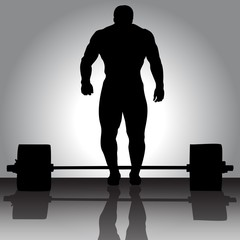 """The vector illustration """"Weightlifter with barbell"""""""