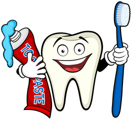 Vector illustration of a smiling cartoon tooth holding a toothbrush and tube of toothpaste.