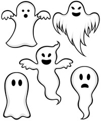 Vector illustration of a variety of cartoon ghosts.