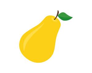 Flat icon pear. Yellow fruit.