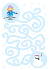 Easy winter maze game with a child and a snowman on white background with snowflakes