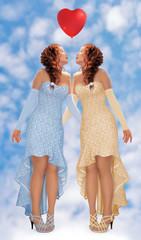 Две девушки в платьях невесты на фоне голубого неба