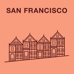 San Francisco street illustration with victorian houses made in line art style