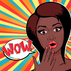Vector illustration - Pop Art Woman WOW sign. Surprised African American Woman face with open mouth in comic style.
