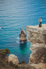 couple in love relaxing, mountain Coast
