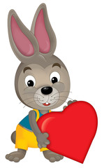 Cartoon rabbit with a valentine heart - illustration for the children