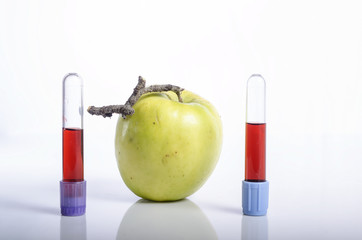 Apple with blood tube as concept of healthy living