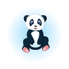 cute panda cartoon sitting