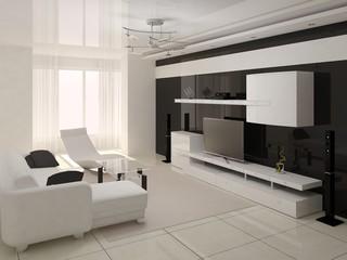Interer modern living room in the style of hi-tech.