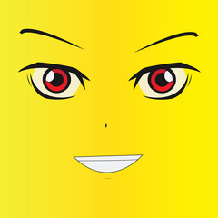 Smile cartoon face with emotion (anime style)