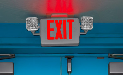 Interior door emergency exit sign and lights