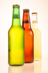 Three Beer Bottles - Green, Brown, Yellow