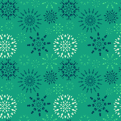 Christmas seamless pattern. Blue and white snowflakes on dark turquoise background. Winter theme retro texture. Vector illustration.