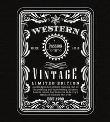 Vintage frame border western label retro frame hand drawn engrav