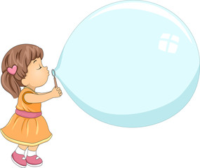 Kid Girl Blow Giant Bubble