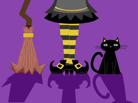 Witch Feet Broom Cat Shadows