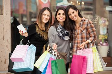Beautiful girls shopping at the mall