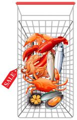 Various seafood in shopping cart