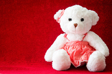 Teddy Bear girl on red background