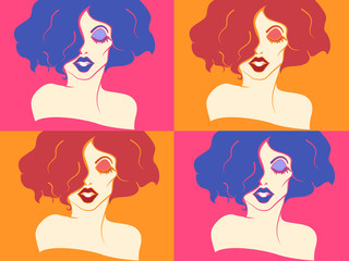 Colorful Girl Drag Queen Stencil