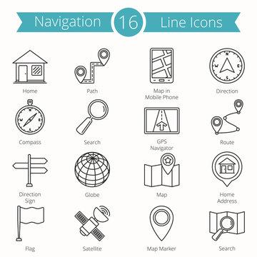 16 Navigation Line Icons