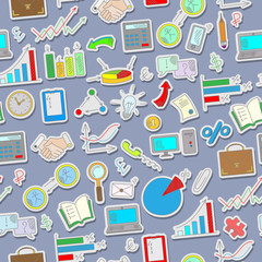 Seamless background with simple hand-drawn icons on a theme business, the colored stickers on the grey background