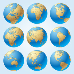Globe set with with borders of world countries. Easy to select every country and delete contour of borders.