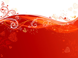 Red and white waves Valentine's background.
