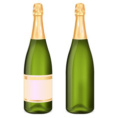 Bottle of champagne with and without label.