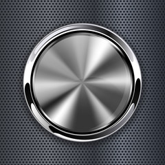 Steel round button on metal background, web icon with chrome frame. Vector illustration