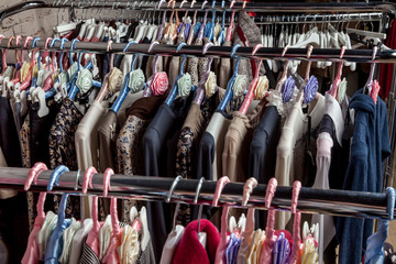 Collection clothes on hangers